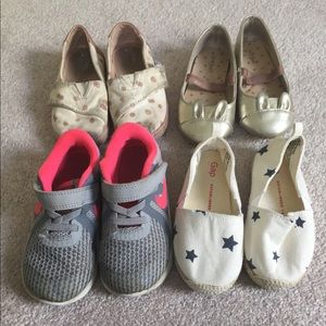 4 pairs size 8. Nike, Toms, Gap, and cat and Jack